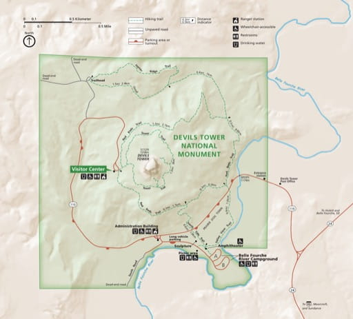 Official visitor map of Devils Tower National Monument (NM) in Wyoming. Published by the National Park Service (NPS).