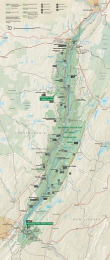 Official visitor map of Delaware Water Gap National Recreation Area (NRA) in New Jersey and Pennsylvania. Published by the National Park Service (NPS).