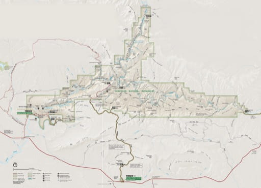 Official visitor map of Dinosaur National Monument (NM) in Colorado and Utah. Published by the National Park Service (NPS).