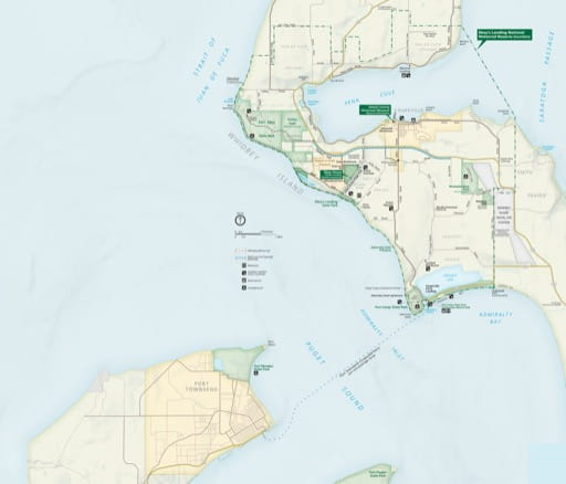 Official visitor map of Ebey's Landing National Historic Reserve (NHR) in Washington. Published by the National Park Service (NPS).