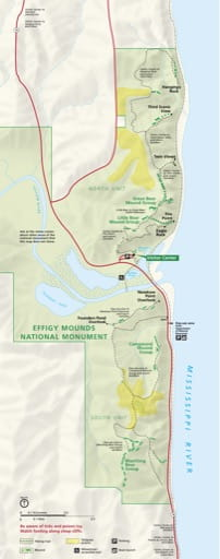 Official visitor map of Effigy Mounds National Monument (NM) in Iowa. Published by the National Park Service (NPS).