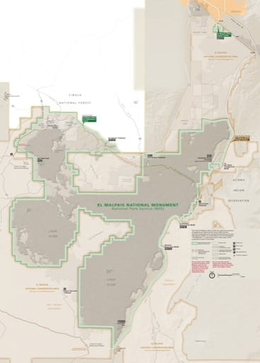 Official visitor map of El Malpais National Monument (NM) in New Mexico. Published by the National Park Service (NPS).
