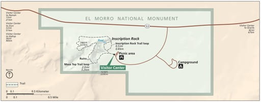 Official visitor map of El Morro National Monument (NM) in New Mexico. Published by the National Park Service (NPS).