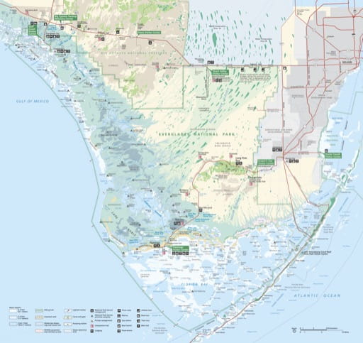 Official Visitor Map of Everglades National Park (NP) in Florida. Published by the National Park Service (NPS).