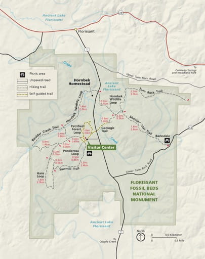 Official visitor map of Florissant Fossil Beds National Monument (NM) in Colorado. Published by the National Park Service (NPS).