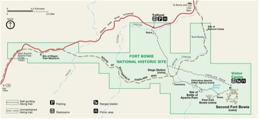 Official visitor map of Fort Bowie National Historic Site (NHS) in Arizona. Published by the National Park Service (NPS).