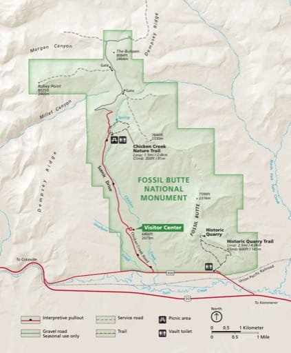 Official visitor map of Fossil Butte National Monument (NM) in Wyoming. Published by the National Park Service (NPS).