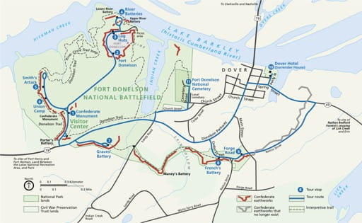 Official visitor map of Fort Donelson National Battlefield (NB) in Kentucky and Tennessee. Published by the National Park Service (NPS).