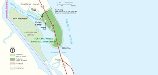 Official visitor map of Fort Matanzas National Monument (NM) in Florida. Published by the National Park Service (NPS).