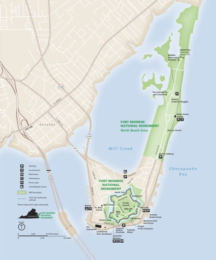 Official visitor map of Fort Monroe National Monument (NM) in South Carolina. Published by the National Park Service (NPS).