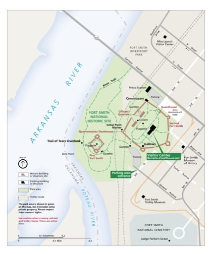 Official visitor map of Fort Smith National Historic Site (NHS) in Arkansas and Oklahoma. Published by the National Park Service (NPS).
