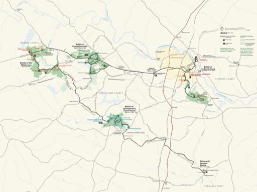 Official visitor map of Fredericksburg & Spotsylvania National Military Park (NMP) in Virginia. Published by the National Park Service (NPS).