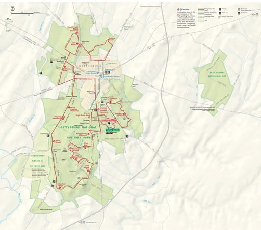 Official Visitor Map of Gettysburg National Military Park (NMP) in Pennsylvania. Published by the National Park Service (NPS).