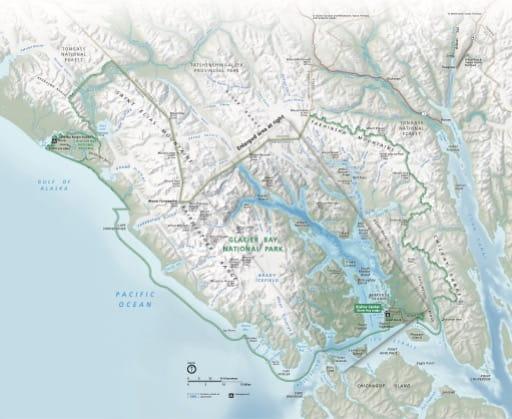 Official visitor map of Glacier Bay National Park & Preserve (NP & PRES) in Alaska. Published by the National Park Service (NPS).