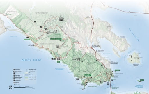 Official visitor map of the Northern area of Golden Gate National Recreation Area (NRA) in California. Published by the National Park Service (NPS).