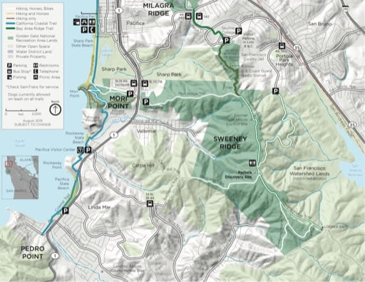 Official visitor map of Sweeney Ridge in Golden Gate National Recreation Area (NRA) in California. Published by the National Park Service (NPS).