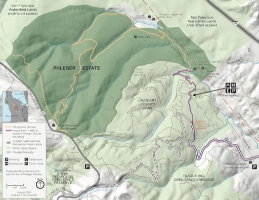 Official visitor map of Phleger Estate in Golden Gate National Recreation Area (NRA) in California. Published by the National Park Service (NPS).