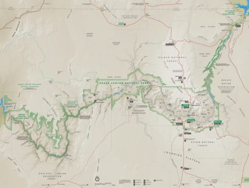 Official visitor map of Grand Canyon National Park (NP) in Arizona. Published by the National Park Service (NPS).