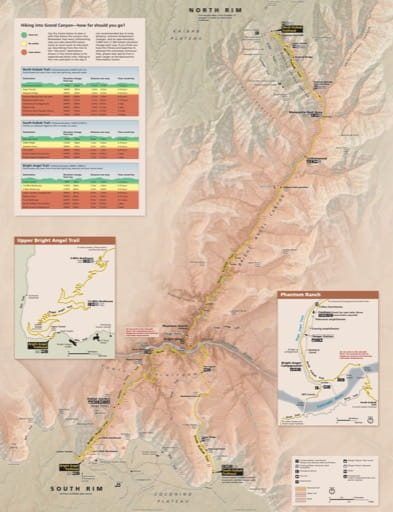 Map for Hiking into Grand Canyon National Park (NP) in Arizona. Published by the National Park Service (NPS).
