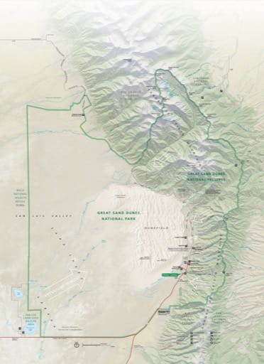 Official visitor map of Great Sand Dunes National Park and Preserve (NP & PRES) in Colorado. Published by the National Park Service (NPS).