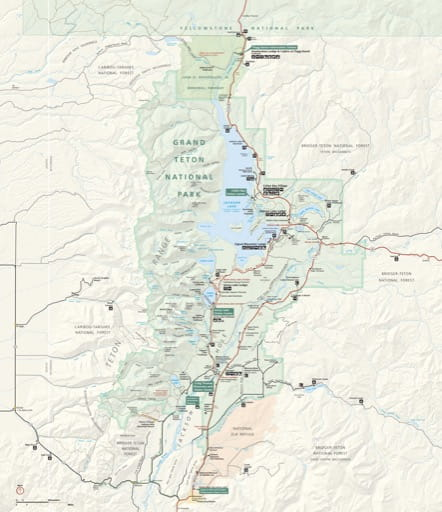 Official visitor map of Grand Teton National Park (NP) in Wyoming. Published by the National Park Service (NPS).