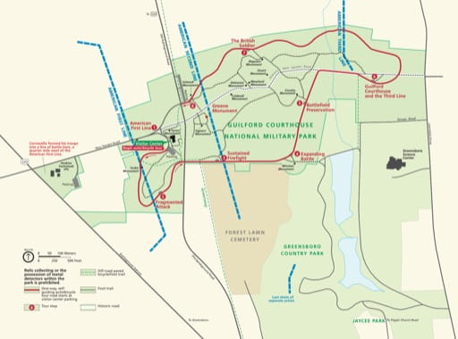 Official visitor map of Guilford Courthouse National Military Park (NMP) in North Carolina. Published by the National Park Service (NPS).