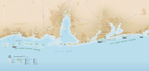 Official visitor map of Gulf Islands National Seashore (NS) in Florida and Mississippi. Published by the National Park Service (NPS).