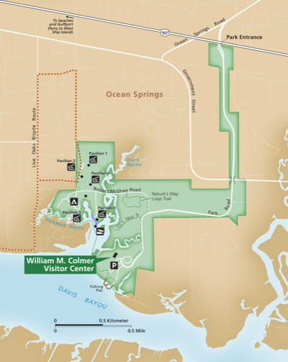 Detail of Davis Bayou of the official visitor map of Gulf Islands National Seashore (NS) in Florida and Mississippi. Published by the National Park Service (NPS).