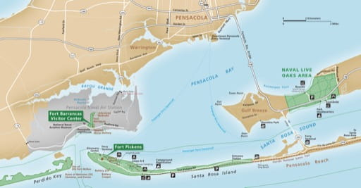 Detail of Pensacola Bay of the official visitor map of Gulf Islands National Seashore (NS) in Florida and Mississippi. Published by the National Park Service (NPS).