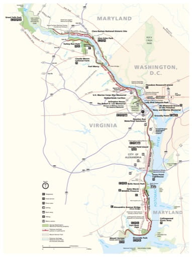 Official visitor map of George Washington Memorial Parkway (MEMPKWY) in Virginia and District of Columbia. Published by the National Park Service (NPS).