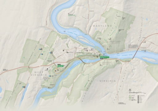 Official visitor map of Harpers Ferry National Historical Park (NHP) in West Virginia, Virginia, Maryland. Published by the National Park Service (NPS).