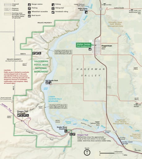 Official visitor map of Hagerman Fossil Beds National Monument (NM) in Idaho. Published by the National Park Service (NPS).