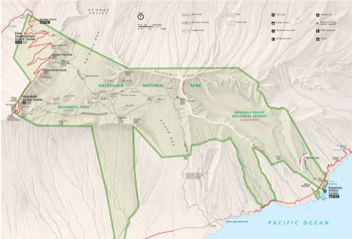 Official visitor map of Haleakalā National Park (NP) in Hawaiʻi. Published by the National Park Service (NPS).