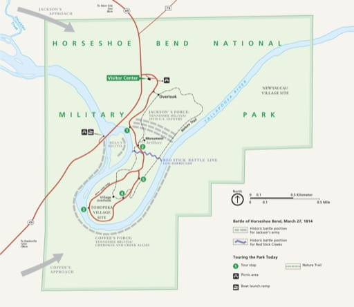 Official visitor map of Horseshoe Bend National Military Park (NMP) in Alabama. Published by the National Park Service (NPS).