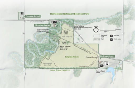 Official Visitor Map of Homestead National Historical Park (NHP) in Nebraska. Published by the National Park Service (NPS).