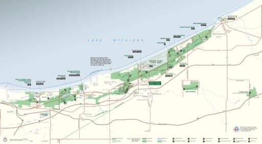 Official Visitor Map of Indiana Dunes National Park (NP) in Indiana. Published by the National Park Service (NPS).