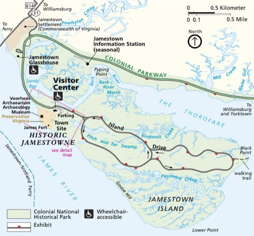 Official visitor map of Jamestowne National Historical Park (NHP) in Virginia, part of Colonial National Historical Park (NHP). Published by the National Park Service (NPS).