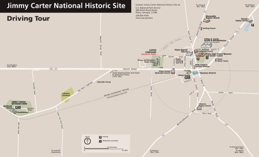 Official visitor map of Jimmy Carter National Historic Site (NHS) in Georgia. Published by the National Park Service (NPS).