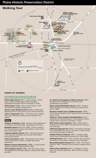 Map of the Walking Tour in Jimmy Carter National Historic Site (NHS) in Georgia. Published by the National Park Service (NPS).