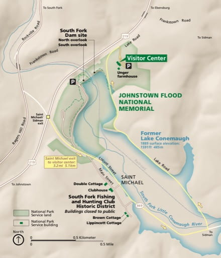 Official visitor map of Johnstown Flood National Memorial (NMEM) in Pennsylvania. Published by the National Park Service (NPS).