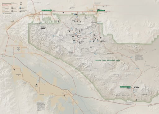 Official Visitor Map of Joshua Tree National Park (NP) in California. Published by the National Park Service (NPS).