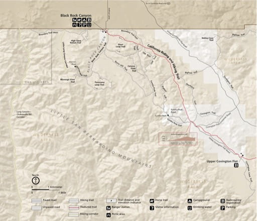 Detail map of Black Rock Canyon in Joshua Tree National Park (NP) in California. Published by the National Park Service (NPS).