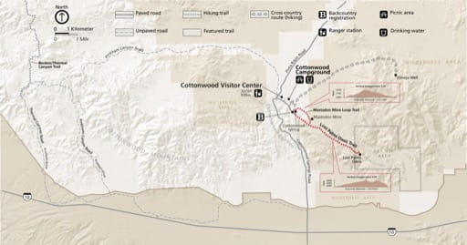 Detail map of Cottonwood in Joshua Tree National Park (NP) in California. Published by the National Park Service (NPS).