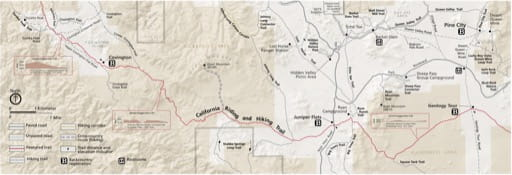 Detail map of Covington Flats in Joshua Tree National Park (NP) in California. Published by the National Park Service (NPS).