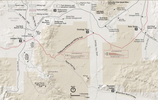 Detail map of the Geology Tour in Joshua Tree National Park (NP) in California. Published by the National Park Service (NPS).