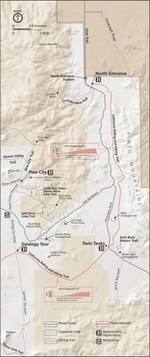 Detail map of the North Entrance area in Joshua Tree National Park (NP) in California. Published by the National Park Service (NPS).