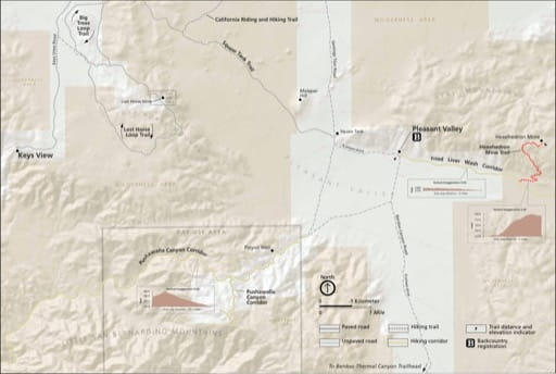 Detail map of Pleasant Valley in Joshua Tree National Park (NP) in California. Published by the National Park Service (NPS).