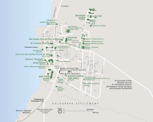 Official visitor map of Kalaupapa National Historical Park (NHP) in Hawaiʻi. Published by the National Park Service (NPS).