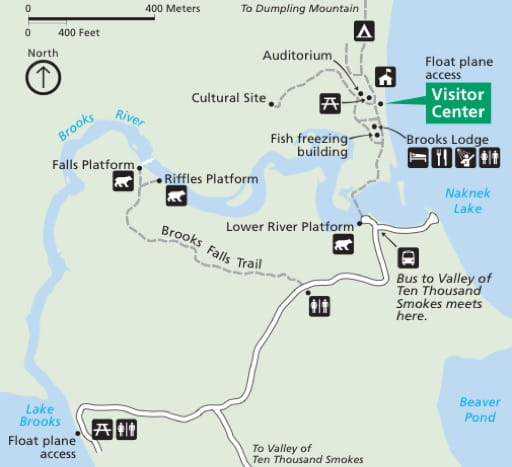 Detail of the official visitor map of Katmai National Park & Preserve (NP & PRES) in Alaska. Published by the National Park Service (NPS).