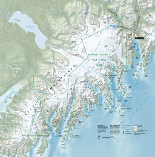 Official visitor map of Kenai Fjords National Park (NP) in Alaska. Published by the National Park Service (NPS).